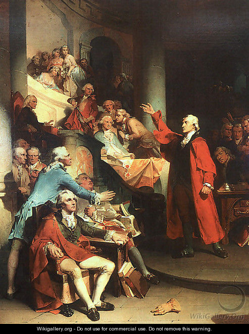 Patrick Henry in the House of Burgesses of Virginia, Delivering his Celebrated Speech Against the Stamp Act 1851 - Peter F. Rothermel