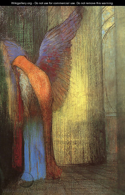Winged Old Man with a Long White Beard - Odilon Redon