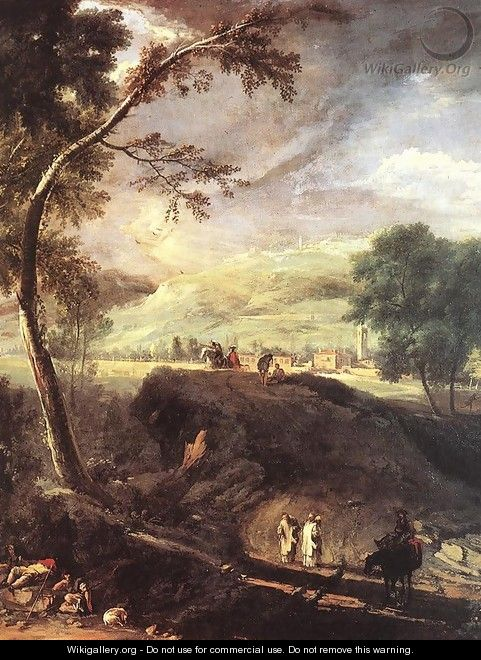 Landscape with River and Figures (detail) c. 1720 - Marco Ricci