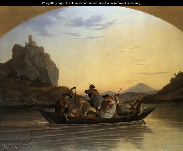 Crossing the Elbe at Aussig 1837 - Adrian Ludwig Richter