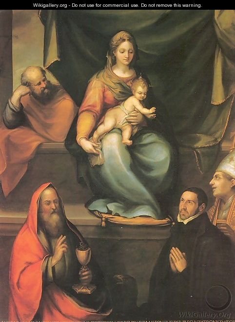 The Holy Family with Saints and the Master Alonso de Villegas 1589 - Blas del Prado