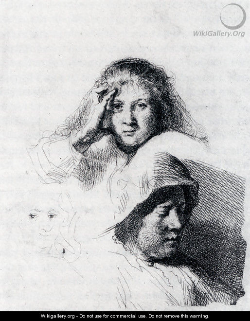 Sheet Of Sketches With A Portrait Of Saskia - Rembrandt Van Rijn