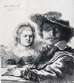 Self-portrait With Saskia - Rembrandt Van Rijn
