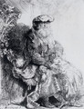 Jacob Caressing Benjamin - Rembrandt Van Rijn
