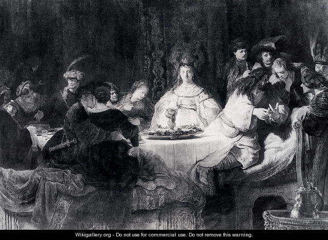 Samson Posing The Riddle At His Wedding Feast - Rembrandt Van Rijn