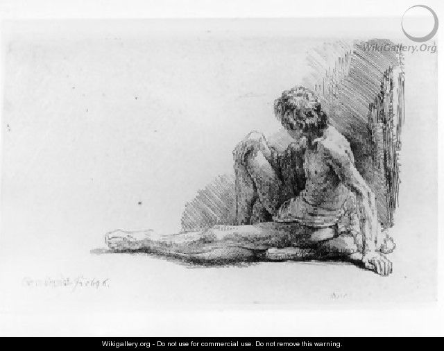 Nude Man Seated on the Ground with One Leg Extended - Rembrandt Van Rijn
