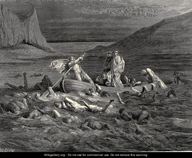 The Inferno, Canto 8, lines 27-29: Soon as both embark'd, Cutting the waves, goes on the ancient prow, More deeply than with others it is wont. - Gustave Dore