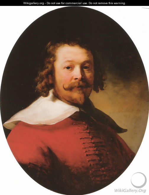 Portrait of a bearded man, bust-length, in a red doublet - Rembrandt Van Rijn