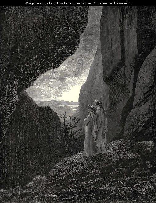 The Inferno, Canto 34, lines 127-129: By that hidden way My guide and I did enter, to return To the fair world - Gustave Dore
