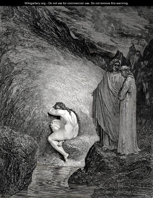 "The Inferno, Canto 30, lines 38-39: "" That is the ancient soul Of wretched Myrrha,"" - Gustave Dore"