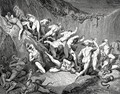 The Inferno, Canto 24, lines 89-92: Amid this dread exuberance of woe Ran naked spirits wing'd with horrid fear, Nor hope had they of crevice where to hide, Or heliotrope to charm them out of view. - Gustave Dore