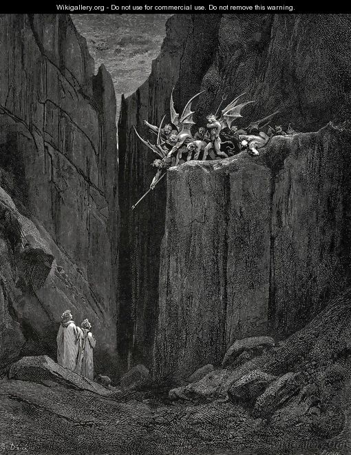 The Inferno, Canto 23, lines 52-54: Scarcely had his feet Reach'd to the lowest of the bed beneath, When over us the steep they reach'd - Gustave Dore