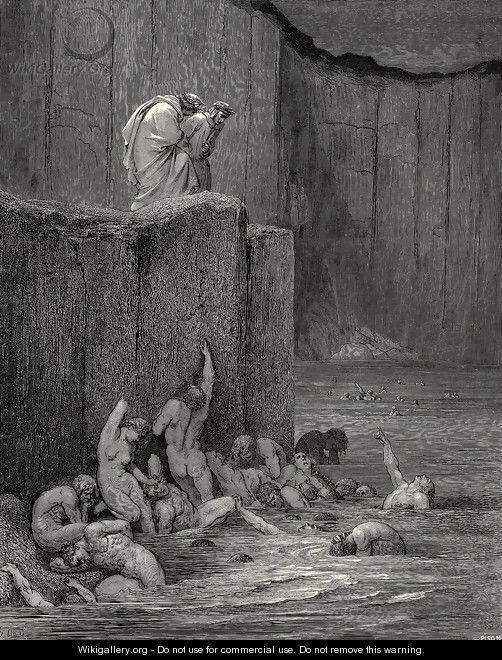 "The Inferno, Canto 18, lines 116-117: ""Why greedily thus bendest more on me, Than on these other filthy ones, thy ken?"" - Gustave Dore"