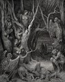 The Inferno, Canto 13, lines 11: Here the brute Harpies make their nest - Gustave Dore