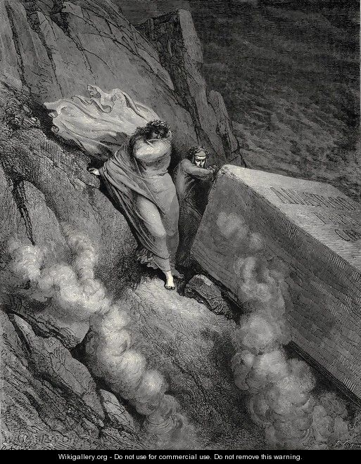 The Inferno, Canto 11, lines 6-7: From the profound abyss, behind the lid Of a great monument we stood retir'd - Gustave Dore