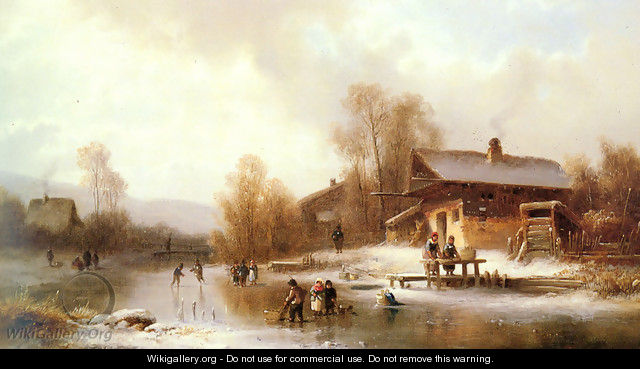 Skaters and Washerwomen in a Frozen Landscape - Anton Doll