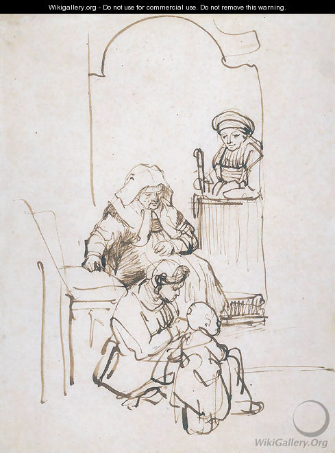 Three Women and a Child at the Door - Rembrandt Van Rijn