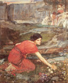 Maidens picking Flowers by a Stream [Study] - John William Waterhouse