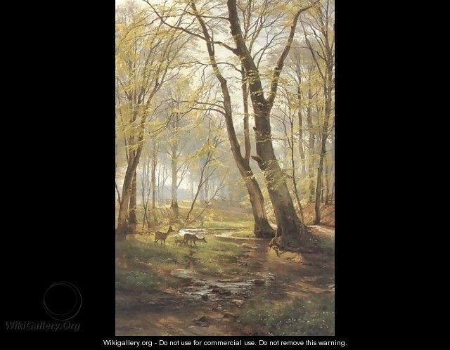 A Woodland Scene With Deer (or A Grassy Knoll) - Carl Frederick Aagaard