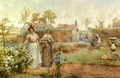 A Lady And Her Maid Picking Chrysanthemums - Alfred Glendening