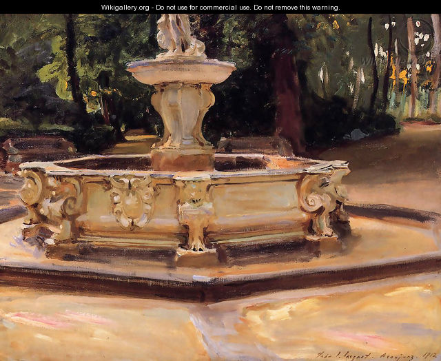A Marble fountain at Aranjuez, Spain - John Singer Sargent
