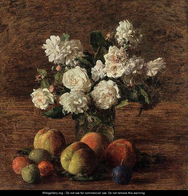 Still Life: Roses and Fruit - Ignace Henri Jean Fantin-Latour