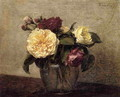 Yellow and Red Roses - Ignace Henri Jean Fantin-Latour
