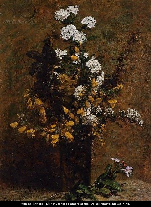 Broom and Other Spring Flowers in a Vase - Ignace Henri Jean Fantin-Latour