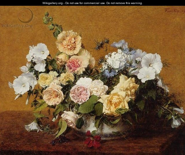 Bouquet of Roses and Other Flowers - Ignace Henri Jean Fantin-Latour