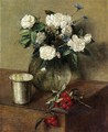 White Roses and Cherries - Ignace Henri Jean Fantin-Latour