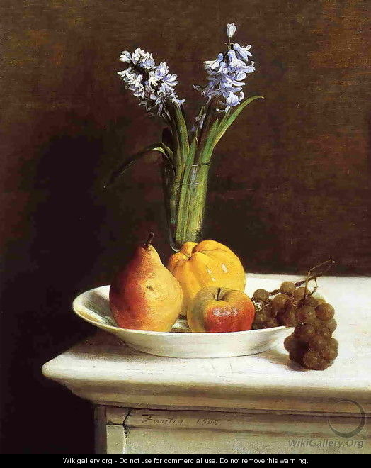 Still Life: Hyacinths and Fruit - Ignace Henri Jean Fantin-Latour