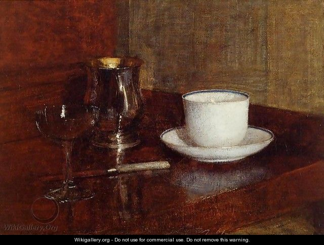 Still Life: Glass, Silver Goblet and Cup of Champagne - Ignace Henri Jean Fantin-Latour