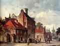 View Of a Town With Figures In A Sunlit Street - Adrianus Eversen