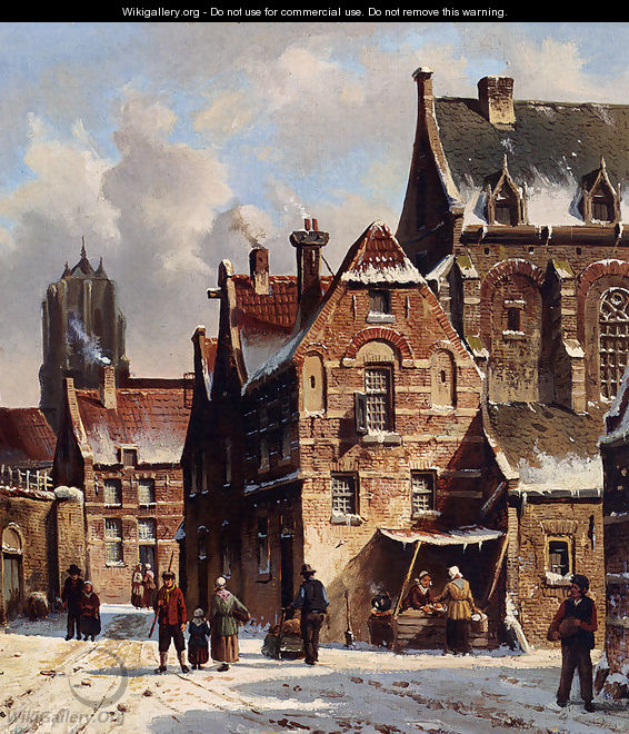 Figures In The Streets Of A Wintry Town - Adrianus Eversen