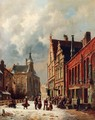 A View In A Town In Winter - Adrianus Eversen
