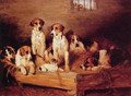 Foxhounds and Terriers in a Kennel - John Emms