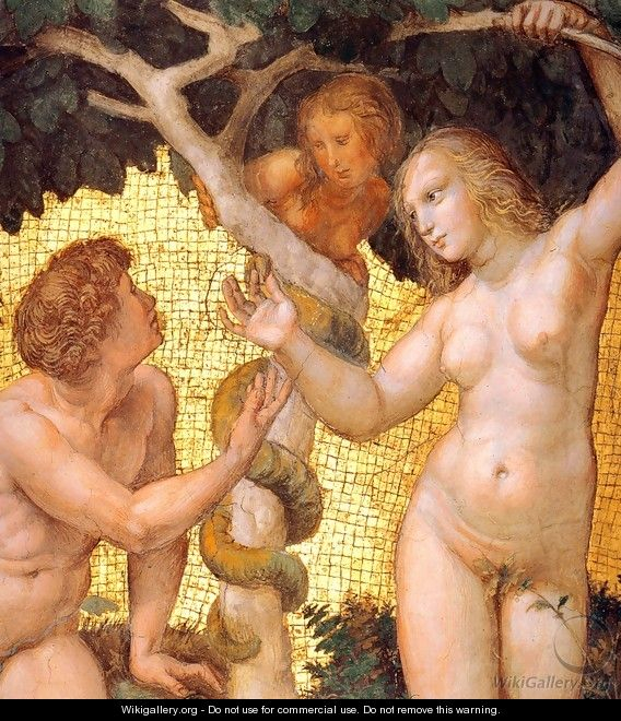 The Stanza della Segnatura Ceiling: Adam and Eve [detail: 1] - Raphael