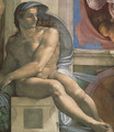 Ceiling of the Sistine Chapel: Ignudi, next to Separation of Land and the Persian Sybil [left] - Michelangelo Buonarroti
