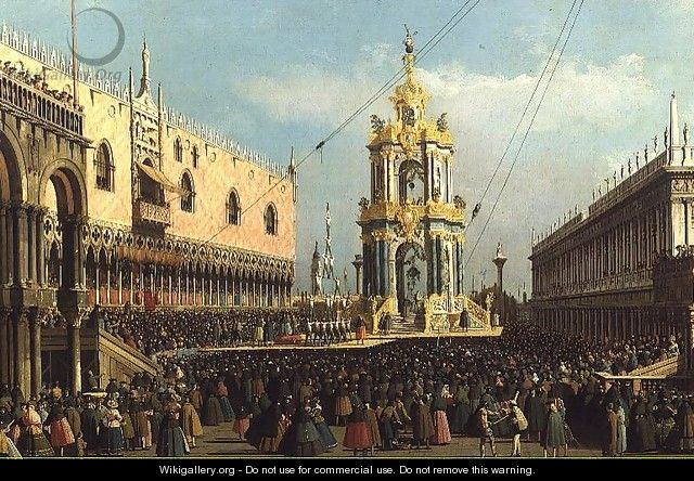 Venice- the Giovedi Grasso Festival in the Piazzetta, 1750s - Studio of Canaletto, Antonio