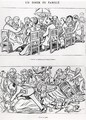 Caricature of a family dinner before and after having talked about the Dreyfus Affair, c.1894 - (Emmanuel Poire) Caran d'Ache