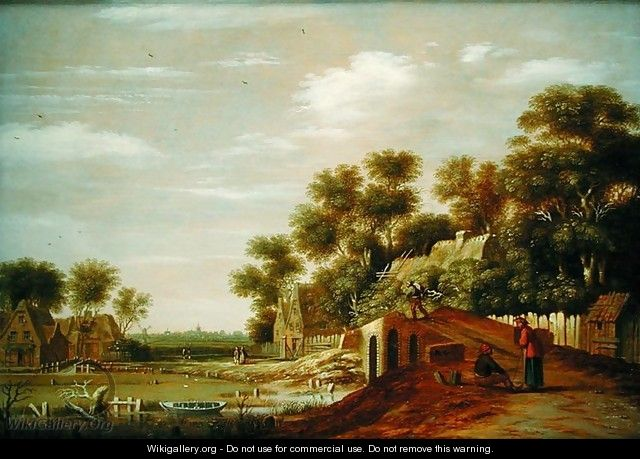 Village Scene with Travellers Resting - Rafel Govertsz Camphuysen