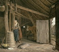 Barn Interior with a Maid Churning Butter - Govert Dircksz. Camphuysen