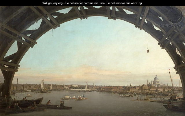 London seen through an arch of Westminster Bridge, 1746-47 - (Giovanni Antonio Canal) Canaletto