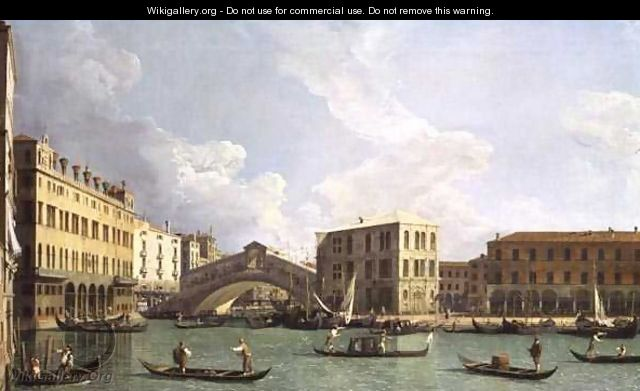 View of the Rialto Bridge, from the North, c.1734-35 - (Giovanni Antonio Canal) Canaletto