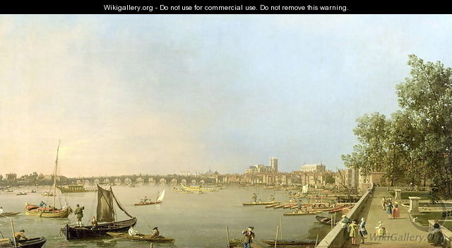 The Thames from the Terrace of Somerset House, looking upstream Towards Westminster and Whitehall, c.1750 - (Giovanni Antonio Canal) Canaletto