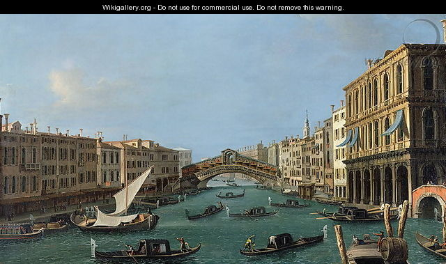 View of the Grand Canal from the South, the Palazzo Foscari to the right and the Rialto Bridge beyond - (Giovanni Antonio Canal) Canaletto