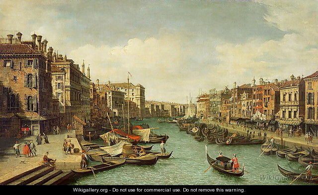 The Grand Canal near the Rialto Bridge, Venice, c.1730 (2) - (Giovanni Antonio Canal) Canaletto