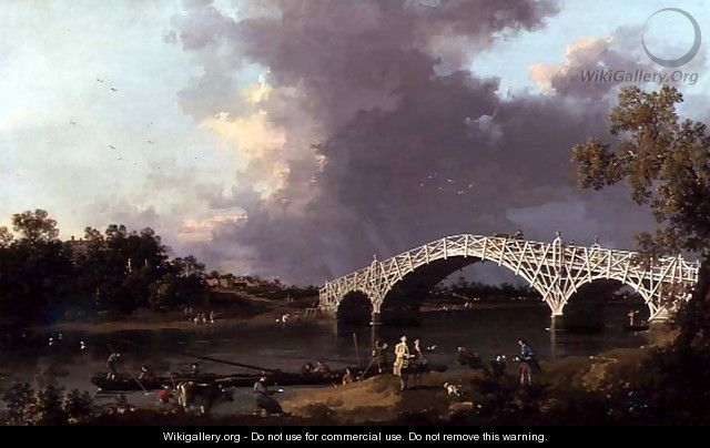 Old Walton Bridge over the Thames, 1754 - (Giovanni Antonio Canal) Canaletto