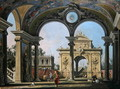 Capriccio of a triumphal arch seen through an ornate archway, c.1750 - (Giovanni Antonio Canal) Canaletto