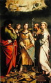 St. Cecilia surrounded by St. Paul, St. John the Evangelist, St. Augustine and Mary Magdalene, after Raphael - Claude Andrew Calthrop